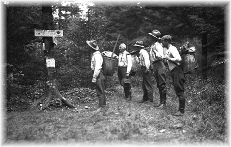 Hikers on an Adirondack Foot Trail - c. 1920 - A NY State Archives Photo