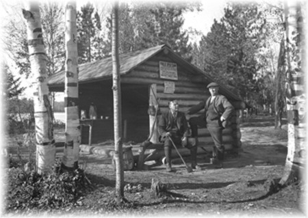 Adirondack Leanto at Fish Creek Campsite - c. 1920 - A NY State Archives Photo