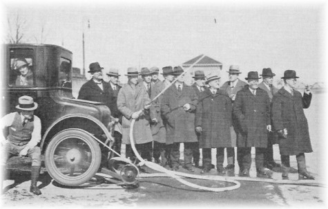 1925 Dana Pump demonstrated with an automobile as a power source - A NYS Archives Photo