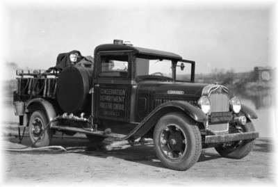 A 1929 Larrabee truck designed specifically for fighting forest fires on long island.