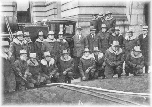 1932 - Governor Franklin D. Roosevelt and forest rangers in front of a newly acquired fire truck