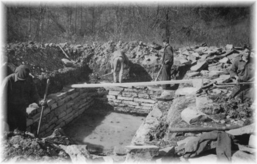 1934 - A waterhole built by the CCC's for use by forest rangers when combating forest fires in the area.