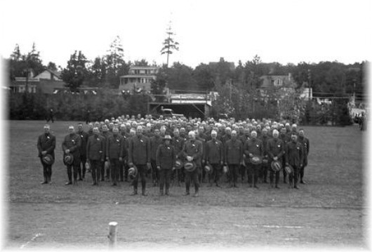 Forest Rangers and Fire Observers at the 1935 celebration of the creation of the Forest Preserve.
