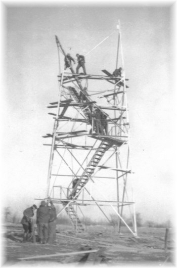 The CCC's erecting a fire tower on Jersey Hill in 1935.