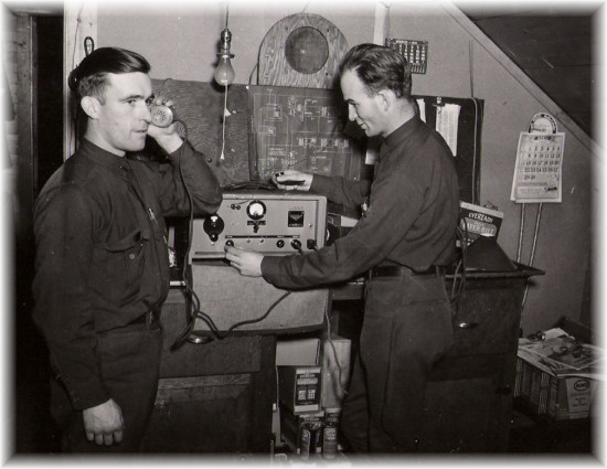 1940 - Rangers attending a two-way radio training school at the Ranger Barracks at Saranac Inn.