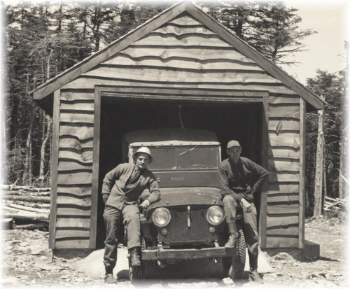 District Ranger Vic Schrader and Hunter Mt. Observer at the garage on the summit of Hunter - Photo courtesy of the family of Forest Ranger Daniel Showers