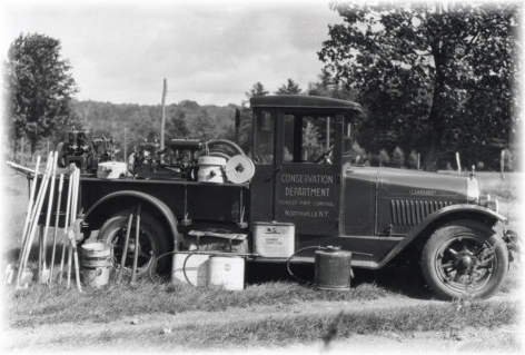 Dist. Ranger E.C. Roberts and his 1929 Larrabee truck designed specifically for fighting forest fires